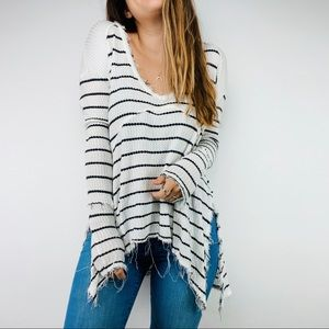 Free People white striped oversized thermal